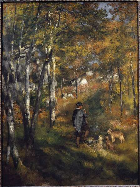 The painter Jules Le Coeur with his dogs in the forest of Fontainebleau Painting by Pierre-Auguste Renoir (1841-1919) 1866 Dim 105x79 cm Sao Paulo, Museum of Art, Brazil