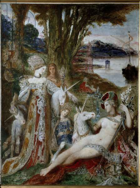 The Unicorns - Painting by Gustave Moreau (1826-1898), oil on canvas, 115x90 cm, circa 1885. Paris, Musee Gustave Moreau