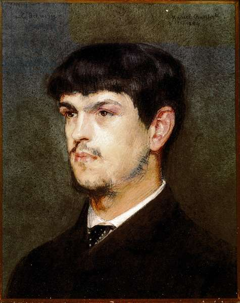 Portrait of the French composer Claude Debussy (Black stone and pastel, 1884)