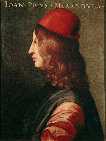 Portrait of Jean Pic de La Mirandole (Giovanni Pico Della Mirandola, 1463-1494) Italian humanist and philosopher. Oil on canvas. Galleria degli Uffizi (Offices) Florence