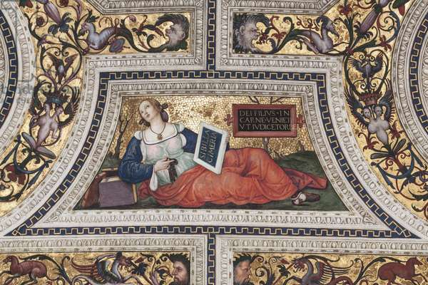 """The Coronation of the Virgin """""""" The Four Evangelists"""""""" """"The Sibyls"""""""" and """""""" the Doctors of the Church"""""""" Detail depicting the Cimerian Sibyl (Cimerian Sibyl) - Voute du chorus realised by Pinturicchio (Bernardino di Betto) (1454-1513) - 1508-1510 Basilica of Santa Maria del popolo (Church of St. Mary of the People), Rome"""