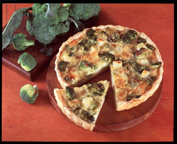 Food: quiche with broccoli and potatoes (Food still life: quiche with broccoli and potatoes) Italy