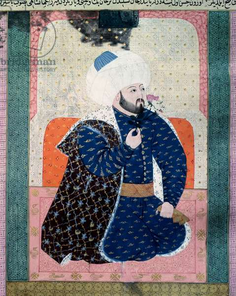 "Portrait of the sultan of the Ottoman Empire Mehet II (Mehmet II the Conquerant or Mehmed II Fatih) (1430-1481) Miniature from the manuscript (Ms. 1973, folio 62a) ""Zubdatat-al Tawarikh"" (Zubdat al-Tawarikh) (Creme of Stories) by historian Seyyid Loqman Ashuri 1538. Turkish and Islamic Art Museum Istanbul"