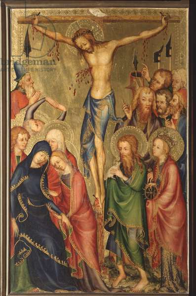 Altarolo del Bargello: crucifixion - (diptych of Bargello, crucifixion) Anonymous painting of the French school of the 14th century (French school, XIV century) Florence, Museo Nazionale del Bargello