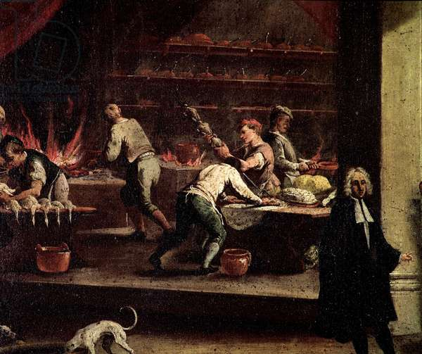 Venetian cooks working in a kitchen Detail - Painting attributed to Gaspare Diziani (1698-1767), ensign of the art of cooks (Arte dei cuochi) Venice, Museo Correr