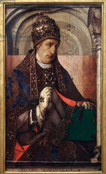 Series of portraits of illustrious men: portrait of Pope Gregory I, known as the Great (532-604), c.1435-75 (oil on panel)