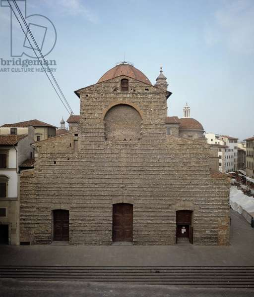 View of the facade of the church of San Lorenzo de Filippo Brunelleschi (1377-1446) 15th century (Church of st Lawrence) Florence, Italy