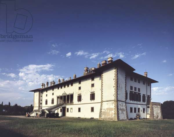 "Facade of Villa Medicea (medici or mediceenne) called the Ferdinanda or the """" Villa dai cento camini"""""" (the villa of hundred chiminees"""""" a Artimino built for the Grand Duke Ferdinand I of Medici - 1596-1600 Tuscany, Italy Photography"