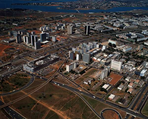 Aerial view of the commercial center and Paranoa lake in Brasilia, Brazil - Aerial view of the commercial center and Paranoa lake, Brasilia, Brazil, 1983 - Photography