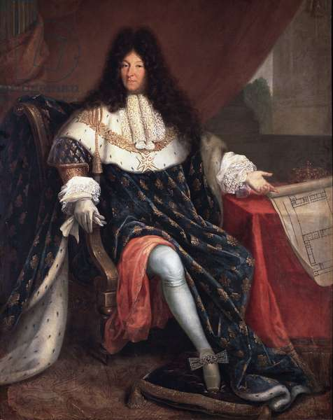 Portrait of Louis XIV holding the plan of the royal house of Saint Cyr (oil on canvas, 17th century)