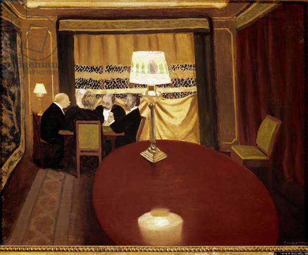 The poker game. Painting by Felix Vallotton (1865-1925), 1902. Oil on cardboard. Sun: 52,5x67,5cm.