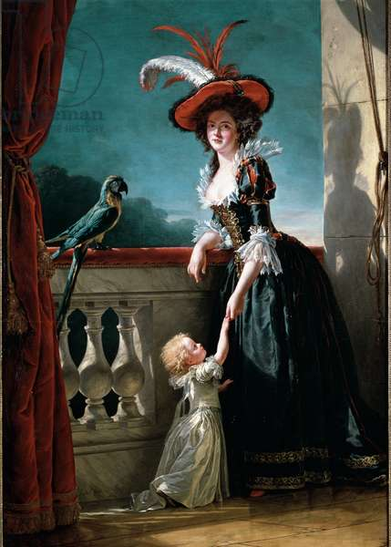 Portrait of Louise Elisabeth of France (daughter of Louis XV) Duchess of Parma (1727-1759) and her son Don Ferdinand (1751-1802) (Portrait of Louise Elisabeth of France daughter of King Louis XV of France and his Queen consort, Maria Leszczynska) Painting by Adelaide Labille Guiard (1749-1803) 1788 Sun. 2,72x1,6 m Versailles, castle museum