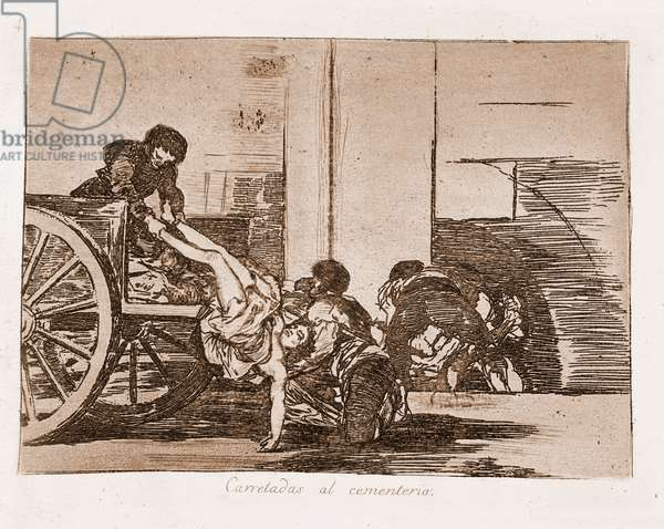 "Destres of the war: """" Carretadas al cementerio"""" (Carloads to the cemetery) - Strong water after preparation drawing in red pencil n°64 by Francisco de Goya y Lucientes (1746-1828) 1863 Madrid Musee du Prado"