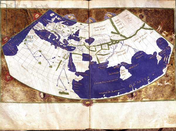 World map of Claudius Ptolemaeus (Claude Ptolemee, 90-168 ap JC), Greek astronomer and astrologer - Representation of the Flat Earth without the North and South Poles and without the American Contains - 15th century Manuscript - Venice, Biblioteca Marciana