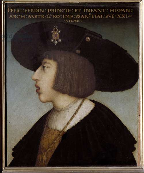 Portrait of Emperor Ferdinand I of Habsburg (1503-1564) (also known as King Ferdinand of Habsburg of Hungary and the Romans), he has the necklace of the Order of Golden Fleece - Painting by Hans Maler da Schwaz (? -1529) - Florence, Galleria degli Uffizi (Offices) - Portrait of Ferdinand I (1503-1564), Holy Roman Emperor and King of Bohemia and Hungary, aged 21 - (wearing the collar of the Order of the Golden Fleece) - Painting by Hans Maler zu Schwaz (1480-1529), oil on panel, 1524 (33 × 28 cm) - Florence, Florence, Galleria ia degli Uffizi