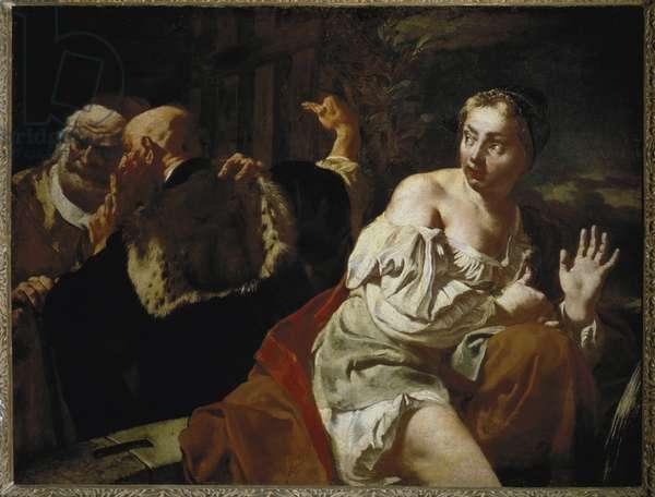 Suzanne and the Elders (Susanna and the Elders) - Painting by Giovan Battista Piazzetta (1683-1754), oil on canvas, 100x135 cm, circa 1720. Firenze, Galleria degli Uffizi (Florence, Uffizi Gallery)