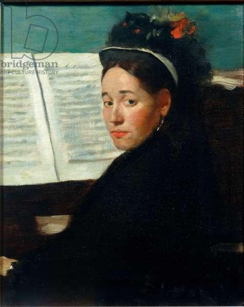 Mademoiselle Dihau au piano, Portrait of Marie Dihau (1843-1935) pianist of the Art Association of Colonne Concerts, Painting by Edgar Degas (1834-1917) 1869-1872, Sun: 0,45x0,32 m Paris, musee d'Orsay