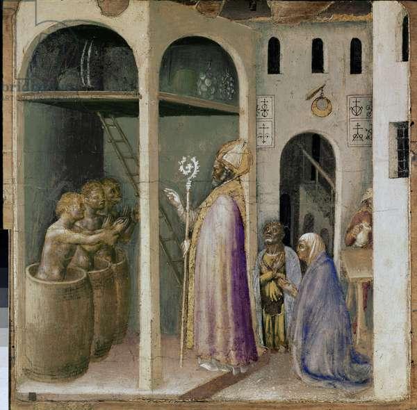 "Polyptic Quaratesi: """" Saint Nicholas resurrecting three young people"""" Painting by Gentile di Niccolo di Giovanni Massi dit Gentile da Fabriano (1370-1427) 1425 Dim 37x37 cm Vatican Pinacoteca"