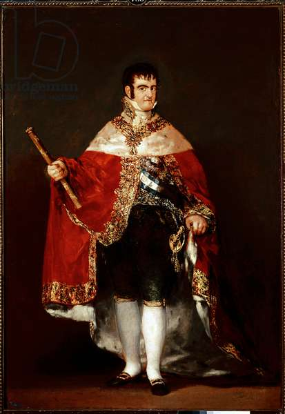 Portrait of King Ferdinand VII (1784-1833) in royal costume Painting by Francisco de Goya y Lucientes (1746-1828). Around 1815. Madrid. Prado Museum