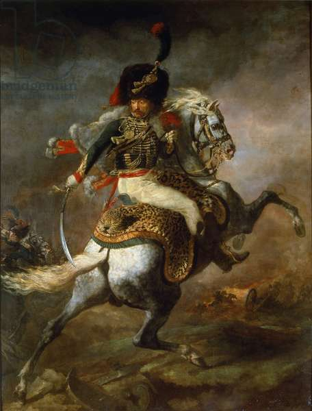 Officer of Hunters on Horseback of the Imperial Guard Charge - oil on canvas, 1812