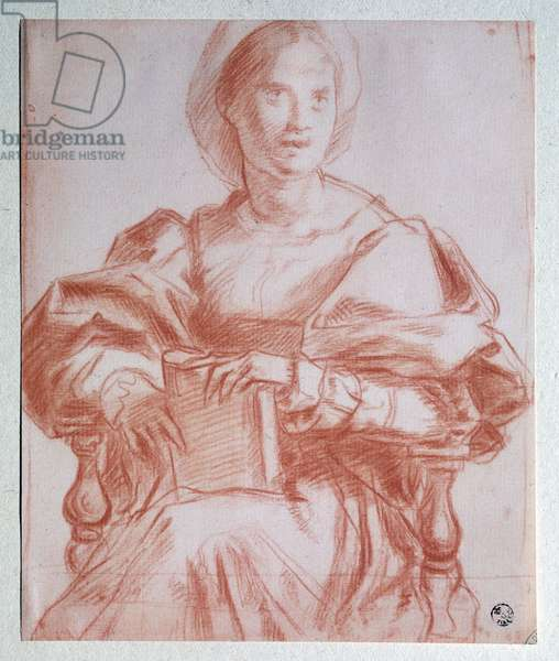 Seated Lady - Drawing, 16th century