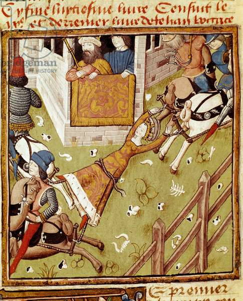 Brunhilda of Austrasias torture, prisoner of Chlothar II, is torn apart by horses that tears off its limbs on either side, 15th century (miniature)