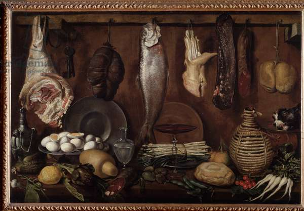 "Pantry with dishes and food (Still life of fish, pig's feet, boiled eggs, asparagus, bacon, bread, lemon, cherries and sausage"" (Storeroom with food and tableware) (Stilll-life of fish, pig's foot, ham, hard-boiled eggs, sausiges, asparagus and lemon) Painting by Jacopo Chimenti dit l'Empoli (1551-1624) 1624) 1624 Dim 77x116 cm Collection private"