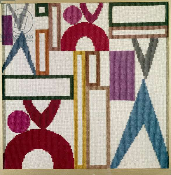 Composition à triangles, rectangles and anneaux parties, 1916 (wool)