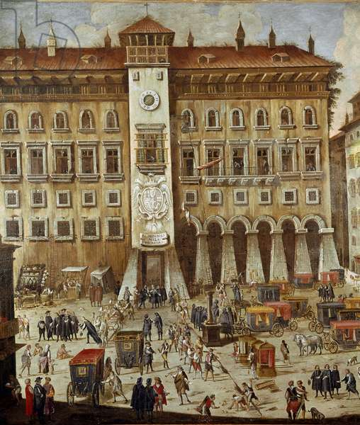 Place of the Vicaria Court in Naples at the time of the revolution of Masaniello Criminals are judges in front of the entrance, a man hanged on a rope - Detail - Painting by Ascanio Luciani (ca. 1621-1706) Naples, Museo Nazionale di San Martino
