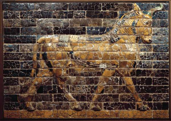 """Mesopotamia: """""""" bull on the move"""""""""""". Enamled tiles from the Ishtar Gate. Babylon (Iraq) at the time of King Nebuchadnezzar II. National Iraq Museum Iraq"""