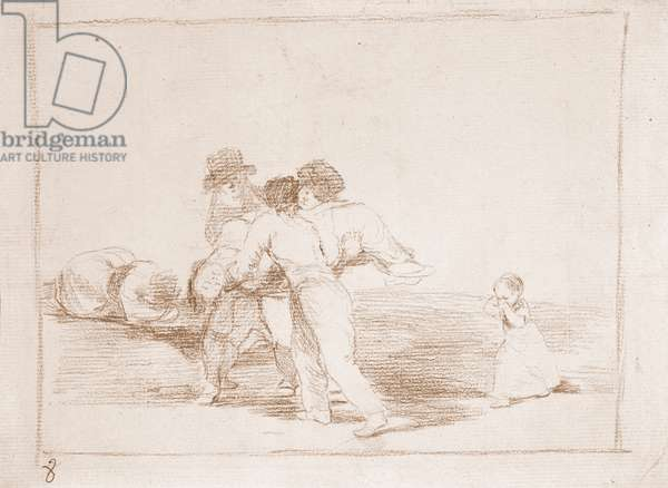 "War Destres: """" Unhappy Mother"""" (Madre infeliz) Three men carry the corpse of the mother of a little girl in tears - Preparation drawing in red pencil n°50 by Francisco de Goya y Lucientes (1746-1828) 1812-1814 Madrid Musee du Prado"