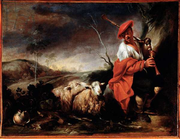 Shepherd playing bagpipes with his sheep Painting by Giovanni Francesco Castiglione (1641/42-1716) Genes, Musei di Strada Nuova (ex Palazzo Bianco)