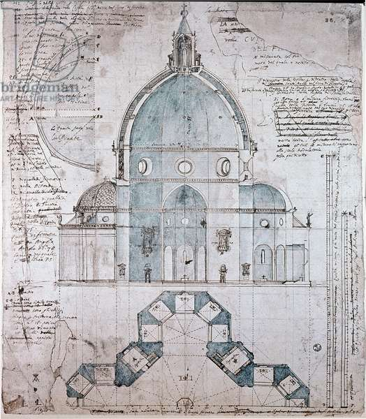 Plan and cut of the dome of the Cathedral of Florence, 16th century (drawing)