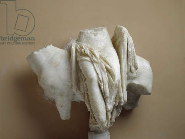 Draped female statue next to a quadruped as a votive offering from Sorrento