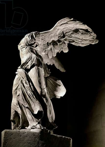 """Greek antiquite: """""""" The Victory of Samothrace"""""""" Representation of Nike, personification of Victory, ailee and drapee. Marble sculpture. Discovered on the island of Samothrace. Sun. 3,2 m Paris, Musee du Louvre - Greek Antiquity. Winged Victory of Samothrace (also Nike of Samothrace). Hellenistic Art. Marble H3.28 m, c.190 BC. Louvre Museum, Paris, France"""