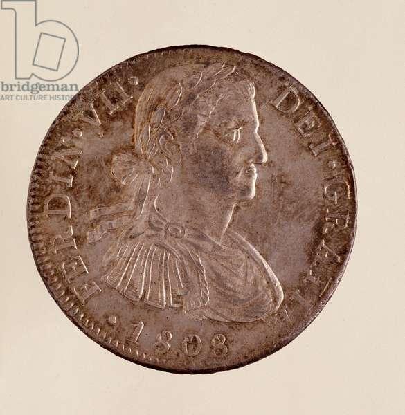 Silver coin (8 reales) from Spain: reign of Ferdinand VII (Ferdinando) (1808-1833). 1808 Diam. 3.9 cm Naples, museo archeologico