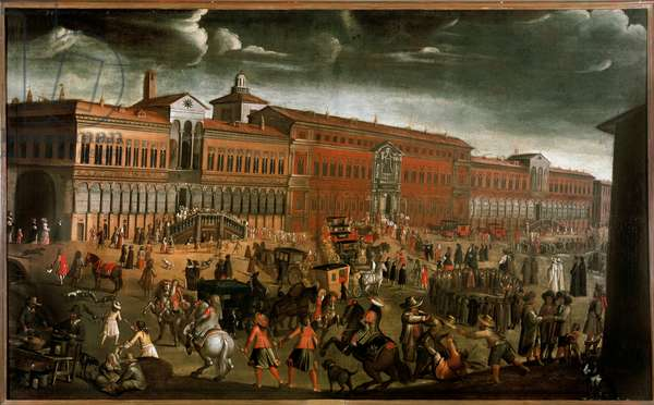 View of the Ospedale Maggiore (Grand Hospital) on the day of the Fete of Forgiveness in Milan. c.1670-1780 (painting)