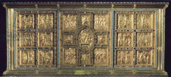 St Ambrose or Golden altar, front with scenes from the life of Christ, embossed gold work by Vuolvino / Volvino, 824-860, Basilica of Sant'Ambrogio, Milan