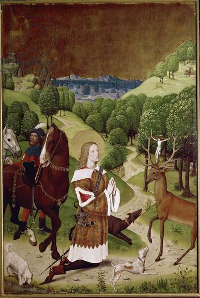 The conversion of Saint Hubert (Hubert de Liege, ca. 656-732) (St Hubertus conversion). Painting of the Master of the Life of Mary (or Master of Wilten) (active 1463 to 1490), 1485-1490. London, National Gallery