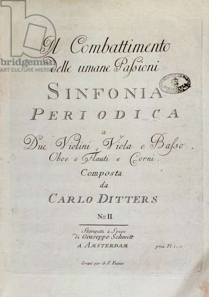 """Cover page of musical score of """""""" Sinfonia Periodica"""""""" (Il combattimento delle umani passioni) by Karl (Carl) Ditters von Dittersdorf (1739-1799) 1779. Sheet music page of the """"Periodic Symphony, the Combat of Human Passions"""" by Karl Ditters von Dittersdorf. Bologna, civico museo musico"""