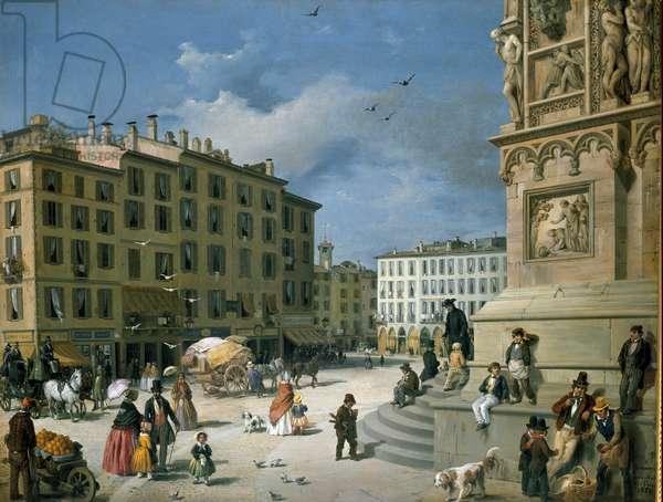 Amanzia Guerillot Inganni, Piazza del Duomo, 1850 (oil on canvas)