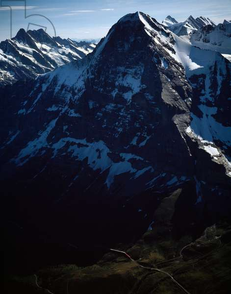 Aerial view of Bernese Alps, Schreckhorn mount and Eiger mount, canton of Bern, 1990 ca - Photography