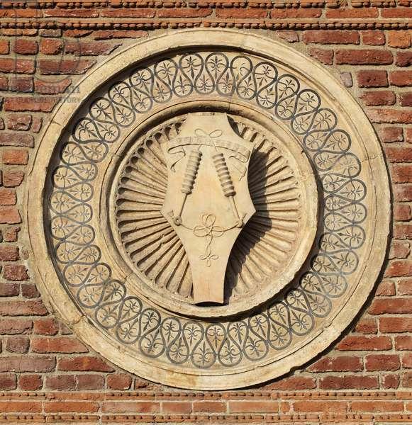 Medaillon (patera) sculpted, base of the apse of Bramante (Donato di Pascuccio) (1444-1514) Basilica della Madonna delle Grazie (Sculpted patera on the bramante apse) 1429-1481 Italy