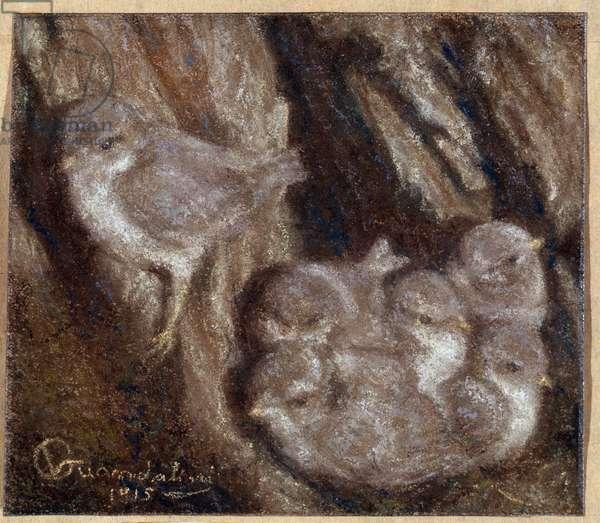 La couvee Pastel by Vittorio Guandalini (1861-1923), 1915 Dim 103x118 cm Genes, Galleria d'Arte Moderna, inv 0251