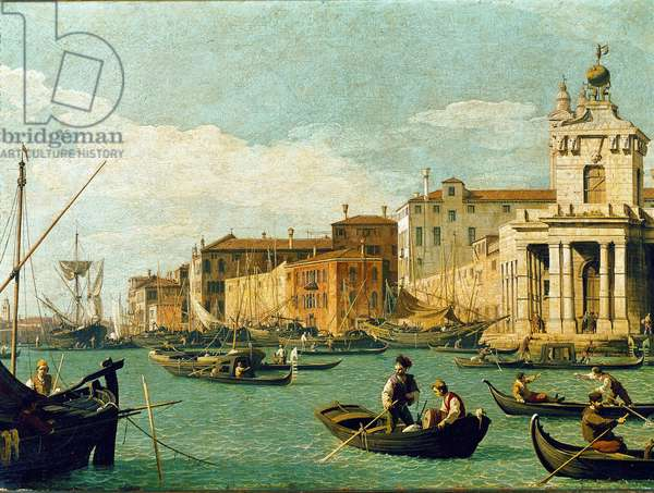 View of the Punta della Dogana and the Fondamenta delle zattere in Venice (Customs Point and Giudecca Canal) Painting by Canaletto (Giovanni Antonio Canal) (1697-1768) 1726-1728 Dim 46x61 cm Private collection