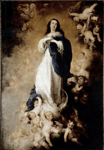 Immaculee design. Painting by Bartolome Murillo (1618-1682) Ec. Esp, 1678. Madrid, Musee Du Prado - The Immaculate Conception or The Soult Immaculate Conception. Painting by Bartolome Murillo (1618-1682), Spanish School, 1678. Prado Museum, Madrid, Spain