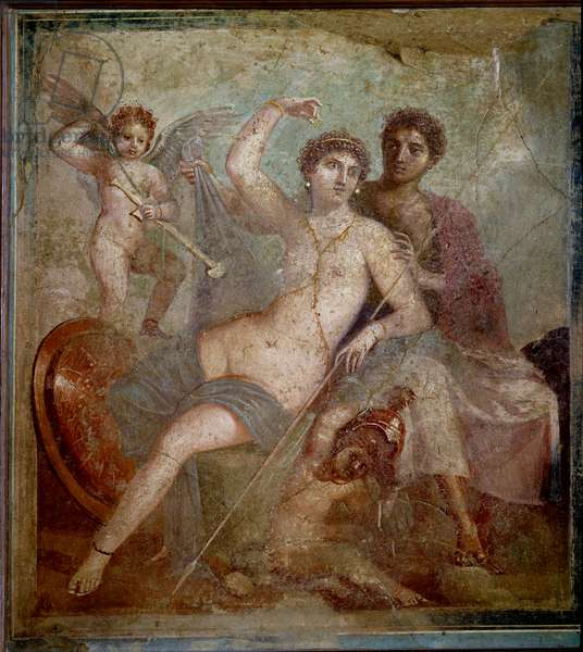 Representation of Ares and Aphrodite, accompanied by loves playing with the weapons of the god. Fresco from the Villa de Mars and Venus in Pompei. 1st century AD. Archaeological Museum of Naples - Roman art: Ares, Aphrodite and Eros. Aphrodite (Venus) reclines half-naked in the arms of Ares (Mars). Their sons, the winged Cupid and wingless Fortuno play with the arms of the god. Fresco from the House of Mars and Venus, Pompeii. 1st century AD. National Archaeological Museum, Naples, Italy