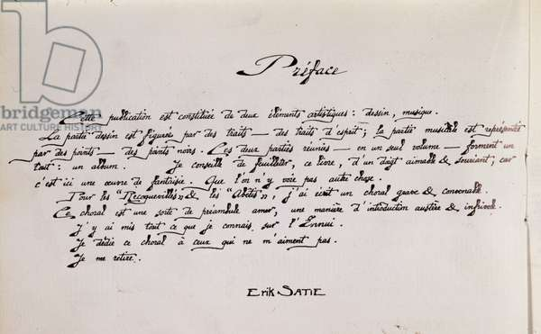 Manuscript preface page of sheet music accompanied by drawings by the French composer Erik Satie (1866-1925) - Page of preface of a musical score illustrated by French composer Erik Satie