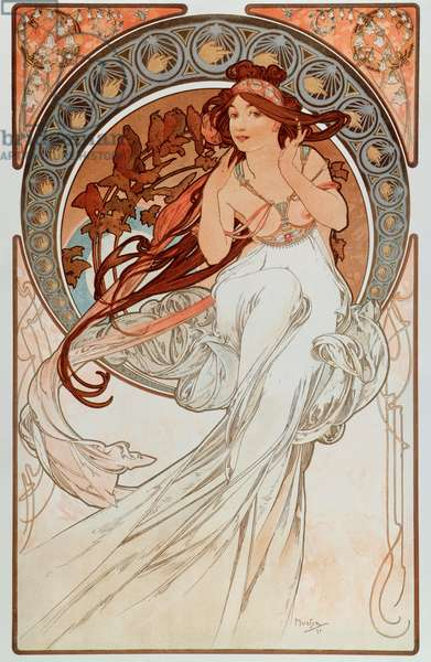 "La musique Lithographs series by Alphonse Mucha (1860-1939), 1898 - """" The music"""" From a serie of lithographs by Alphonse Mucha, 1898 Dim 38x60 cm Private collection"