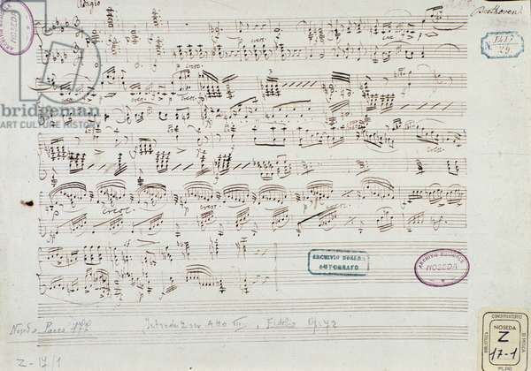 """Page of musical score of """"Fidelio"""": beginning of act III, 1805 (pen & ink on paper)"""